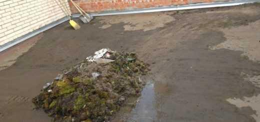 Очистка крыши от листьев и мусора